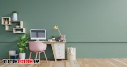 دانلود عکس اتاق کار با دیوار سبز  Office Room With A Empty Wall