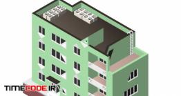 دانلود وکتور ایزومتریک ساختمان با دستگاه تهویه هوا Building With A Windows And Air-conditioning