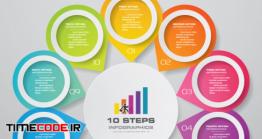 دانلود وکتور اینفوگرافی ده مرحله ای Steps Simple&editable Process Chart