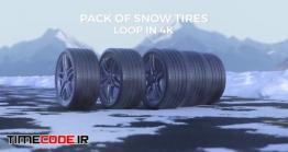 دانلود فوتیج آلفا لاستیک ماشین در جاده برفی Car Tires Drive On A Snowy Road