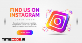 دانلود بنر تبلیغ کانال اینستاگرام Instagram Social Media With Colorful Designs.