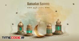 دانلود وکتور کارت تبریک ماه رمضان Islamic Greeting Ramadan Kareem Card Design