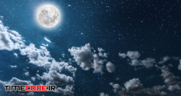 دانلود عکس ماه در آسمان شب Night Sky With Stars And Moon And Clouds