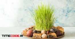 دانلود عکس سبزه عید Novruz Traditional Tray With Green Wheat Grass