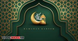 دانلود فایل لایه باز کارت تبریک ماه رمضان Ramadan Kareem Green