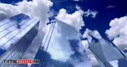 دانلود فوتیج حرکت ابر روی شیشه آسمان خراش Skyscrapers Sky And Clouds