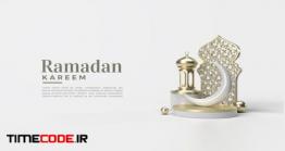 دانلود بنر لایه باز ماه رمضان Ramadan Kareem With Classic Plank Ornament