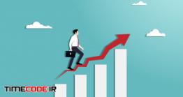 دانلود وکتور مفهومی نمودار رشد و ترقی در کسب و کار Businessman Walking Up On Red Arrow