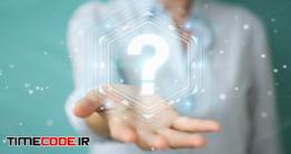 دانلود عکس مفهومی علامت سوال در دست مرد Businesswoman Using Question Marks Digital Interface