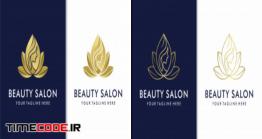 دانلود طرح لایه باز لوگو سالن زیبایی Creative Golden Beauty Salon Spa Logo Set