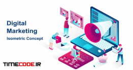 دانلود پروژه آماده افتر افکت : موشن گرافیک دیجیتال مارکتینگ Digital Marketing – Isometric Concept