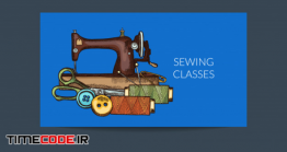 دانلود طرح لایه باز لوگو خیاطی Hand Drawn Sewing Elements Business Card Template