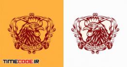 دانلود طرح لایه باز لوگو خروس Rooster Chicken Logo Vintage