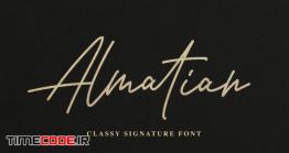 دانلود فونت انگلیسی گرافیکی به سبک امضا Almatian – Classy Signature Font