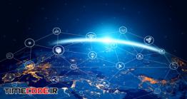 دانلود عکس کره زمین با اتصال به شبکه اینترنت  5g Communication Technology Of Internet Network