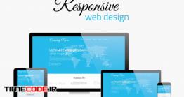 دانلود وکتور طراحی وب رسپانسیو  Responsive Web Design In Modern Flat Vector Style Concept Image
