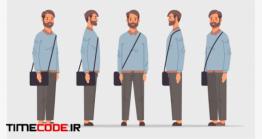 دانلود ست وکتور کاراکتر مرد با کیف دوشی Set Casual Man Front Side View Male Character Different Views